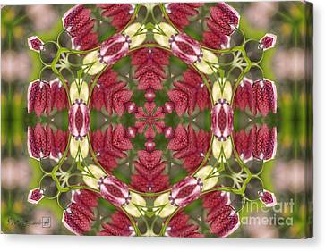 Meleagris Canvas Print - Checkered Lilies Mandala by J McCombie