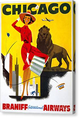 Chicago Vintage Travel Poster Restored Canvas Print by Carsten Reisinger