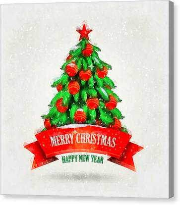 Nativity Canvas Print - Christmas Tree by Esoterica Art Agency