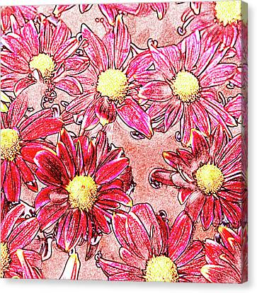 Chrysanthemums In Water Canvas Print by Skip Nall