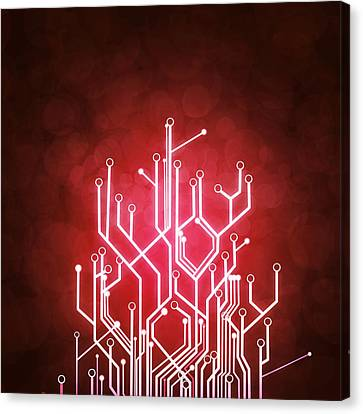 Modern Digital Art Canvas Print - Circuit Board by Setsiri Silapasuwanchai