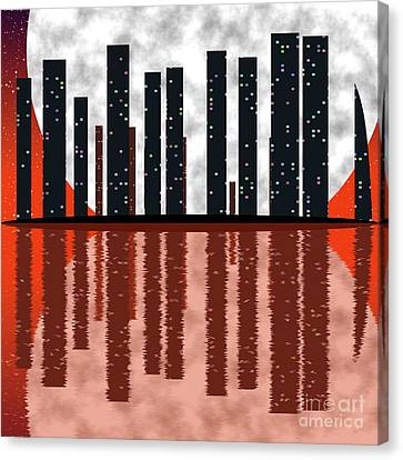 City Skyline At Full Moon Canvas Print by Michal Boubin