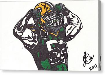 Canvas Print featuring the drawing Clay Matthews 2 by Jeremiah Colley