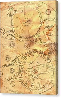 Clockwork Mechanism On Grunge Paper Canvas Print by Michal Boubin