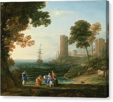 Coast View With The Abduction Of Europa Canvas Print by Claude Lorrain