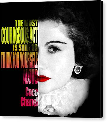 Coco Chanel Fashion Motivational Inspirational Independent Quotes Canvas Print by Diana Van