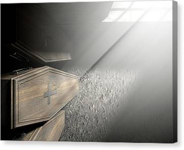 Coffin Row In A Room Canvas Print
