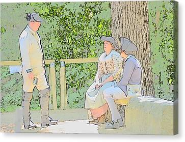 Colonial Man Canvas Print - Colonials At Rest by Robert Nelson