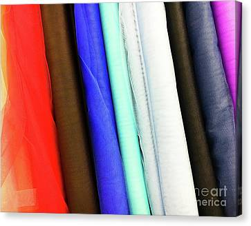 Colorful Fabrics Selection Canvas Print by Tom Gowanlock