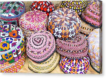 Old Pitcher Canvas Print - Colorful Hats by Tom Gowanlock