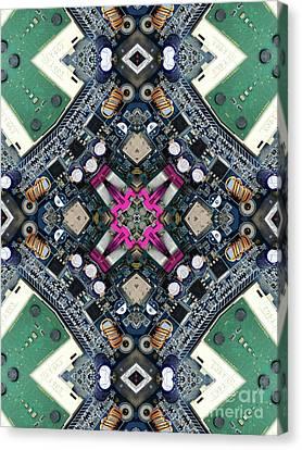 Computer Circuit Board Kaleidoscopic Design Canvas Print