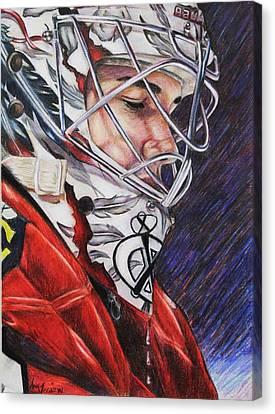 Corey Crawford Canvas Print by Annie Wegrzyn