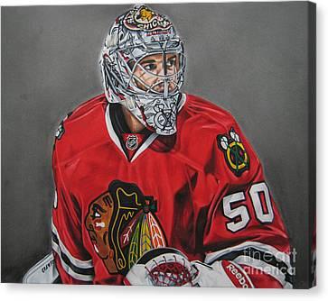 Nhl Hockey Canvas Print - Corey Crawford by Brian Schuster