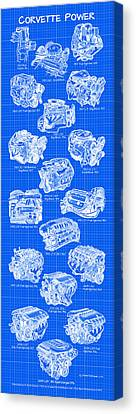 Corvette Power - Corvette Engines Blueprint Canvas Print