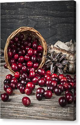 Cranberries In Basket Canvas Print