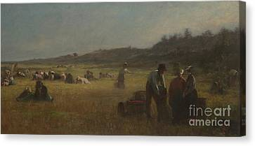Cranberry Pickers Canvas Print by Eastman Johnson