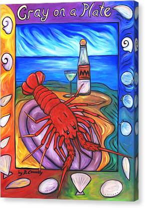 Canvas Print featuring the painting Cray On A Plate by Dianne  Connolly