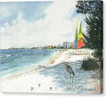 Crescent Beach On Siesta Key Canvas Print by Shawn McLoughlin