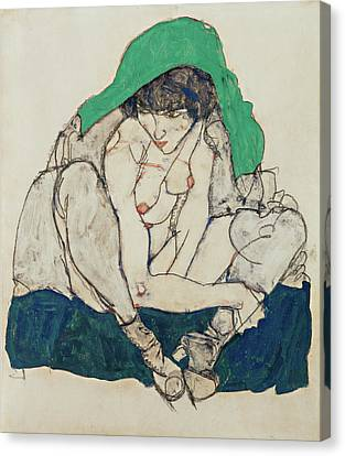 Expressionism Canvas Print - Crouching Woman With Green Headscarf  by Egon Schiele