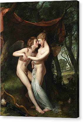 Nuptials Canvas Print - Cupid And Psyche In The Nuptial Bower by Hugh Douglas Hamilton