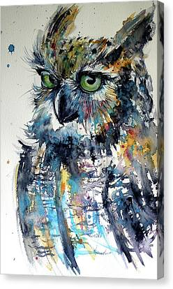 Canvas Print featuring the painting Cute Owl by Kovacs Anna Brigitta