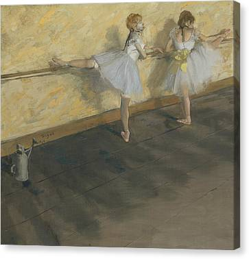 Dancers Practicing At The Bar Canvas Print by Edgar Degas