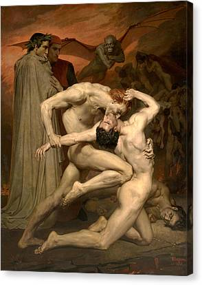 Dante And Virgil In Hell  Canvas Print by William-Adolphe Bouguereau