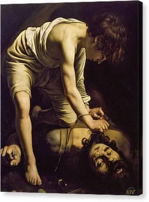 David And Goliath Canvas Print - David With The Head Of Goliath by Caravaggio
