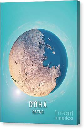 Doha 3d Little Planet 360-degree Sphere Panorama Canvas Print