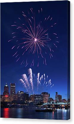 Downtown Fireworks Canvas Print by Patrick Campbell