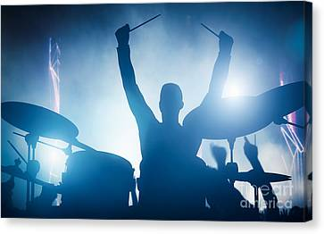 Drummer Playing On Drums On Music Concert. Club Lights Canvas Print