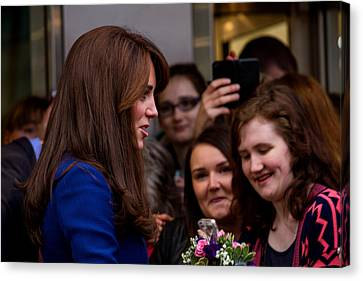 Duke And Duchess Of Cambridge Prince William And Kate Middleton Visit Dundee Canvas Print by Euan Donegan