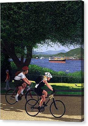 East Van Bike Ride Canvas Print by Neil Woodward