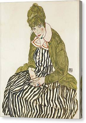 Expressionism Canvas Print - Edith With Striped Dress, Sitting by Egon Schiele