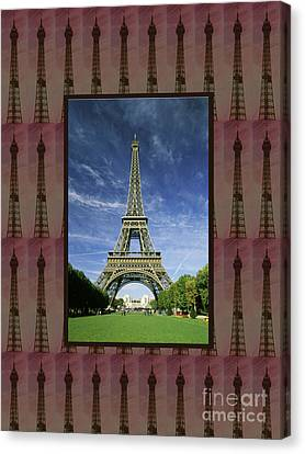 Canvas Print featuring the photograph Effel Tower Paris France Landmark Photography Towels Pillows Curtains Tote Bags by Navin Joshi