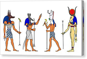 Egyptian Gods And Goddess Canvas Print by Michal Boubin