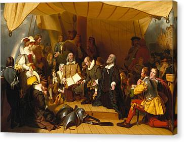 Embarkation Of The Pilgrims Canvas Print by Robert Walter Weir