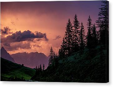 Evening In The Alps Canvas Print by Nailia Schwarz