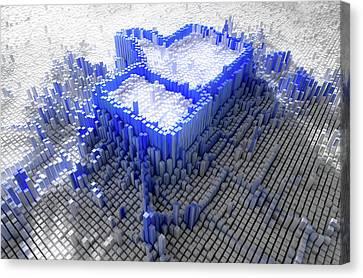 Facebook Like Logo In Pixels Canvas Print by Allan Swart