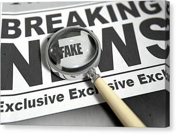 Fake News Newspaper Canvas Print by Allan Swart