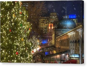 Faneuil Hall Christmas Canvas Print by Joann Vitali