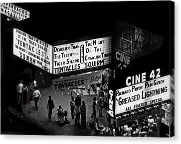 Film Noir Martin Scorcese Robert Deniro Taxi Driver 1976 42nd Street Film Theaters Nyc 1977 Canvas Print by David Lee Guss
