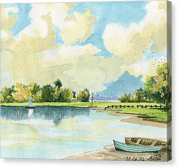 Fishing Lake Canvas Print by Alban Dizdari