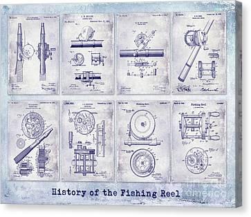 Fishing Reel Patent History Canvas Print by Jon Neidert
