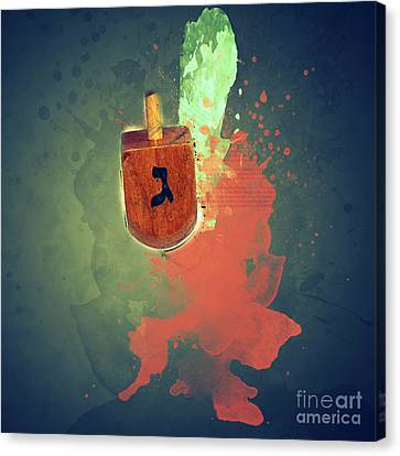 flaming Dreidel Canvas Print by Ilan Rosen
