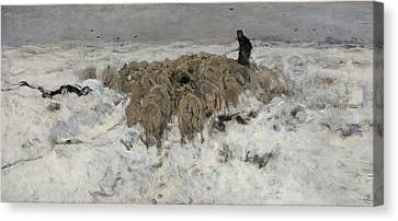Flock Of Sheep With Shepherd In The Snow Canvas Print