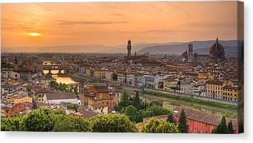Florence Canvas Print - Florence Sunset by Mick Burkey
