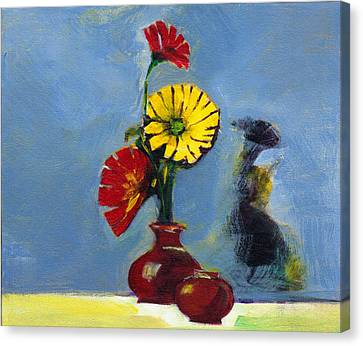 Flowers In Vase Canvas Print by Anil Nene
