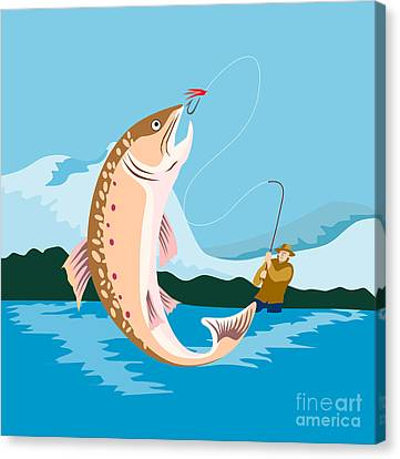 Fly Fisherman Catching Trout Canvas Print by Aloysius Patrimonio