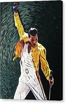 Canvas Print featuring the digital art Freddie Mercury by Taylan Apukovska